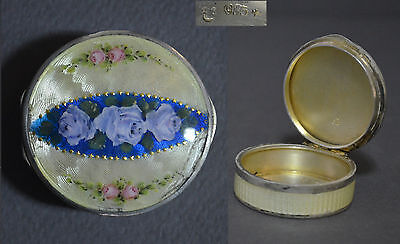 Very Attractive Small Sterling Silver Enamel Swiss Round Pill Box Flowers