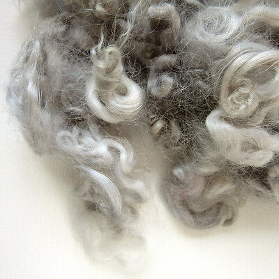 Silver Wool Locks - Grey Dyed Sheep Curls - Dolls Hair - Dyed Fleece - Felting