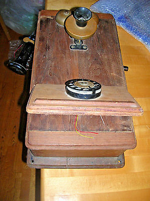 Vintage  Wood Wall Telephone Antique Very Cool. AS IS