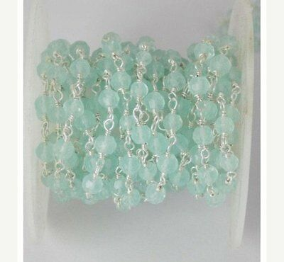 10 Feet Aqua Chalcedony Faceted Rosary Beaded Chain 925 Silver Plated 3.5-4mm