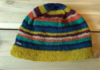 Sherpa Pangdey knitted beanie hat.  Fleece lined. Yellow/Blue/etc