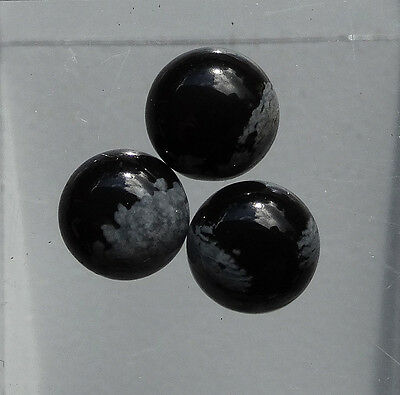 3 OBSIDIENNE NEIGE cab. rond 7mm 3,41 cts poids total - Saphirboutique