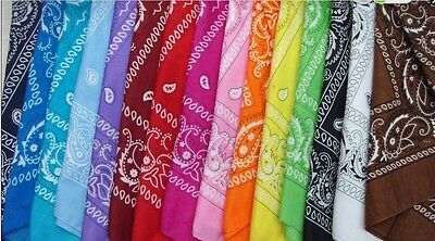 Cotton Head Wrap Paisley Bandana Neck Scarf Wristband Handkerchief 7Y