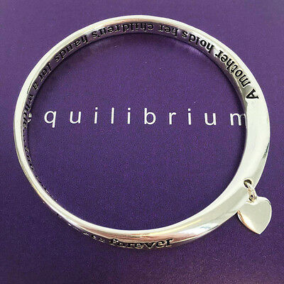 Equilibrium Silver Plated Bangle- 'Mother Holds Their Heart' Mothers Day Gift