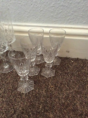 5 vintage cut glass crystal sherry glasses hexagon base