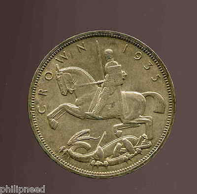 1935 George V Silver Jubilee Rocking-Horse Silver Crown much detail [P659