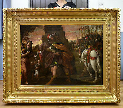 Very Large Fine 16th Century Flemish Old Master Oil Painting of Biblical Scene