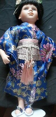 "Ashley Belle 14"" Geisha Doll  Very Good Condition Stand Included"