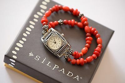 Silpada Vintage Sterling Silver Red Coral Beaded Stretch Watch RARE