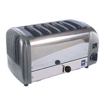 Cadco CTW-6M(220) Pop-Up Toaster with Metallic Grey Aluminum End Panels - 220V