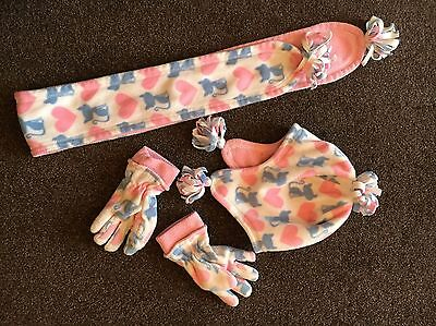 Girls Hat/Scarf & Gloves Set Age 3-6 Years