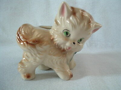Vintage Shawnee Kitty Cat USA 723 Planter Deep Teal Green