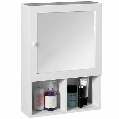 Mirrored Bathroom Cabinet Vanity Storage White Wood With 2 Shelves