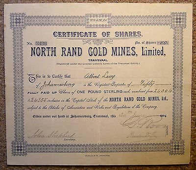 A South African Share Certificate:- North Rand Gold Mines