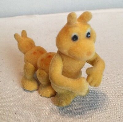 """VINTAGE TEDDY RUXPIN- 3"""" PVC FIGURE Flocked Fuzzy GRUBBY Jointed Movable"""