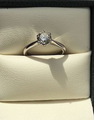 Solitaire 0.56ct Diamond 14k White Gold Ring