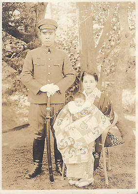 Original WWII Photo JAPANESE SOLDIER w/ SWORD WIFE &  BABY CHILD FAMILY 1940's