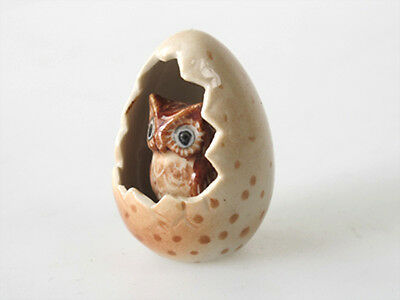 Handicraft Collectible Ceramic Brown Owl in Egg Zoo Animal Figurine