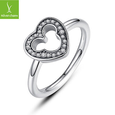 Authentic 925 Sterling Silver Loveheart Finger Ring With Clear CZ For Women Gift