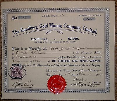 SOUTH AFRICAN SHARE CERTIFICATE:- THE GOUDBERG GOLD MINING Co.