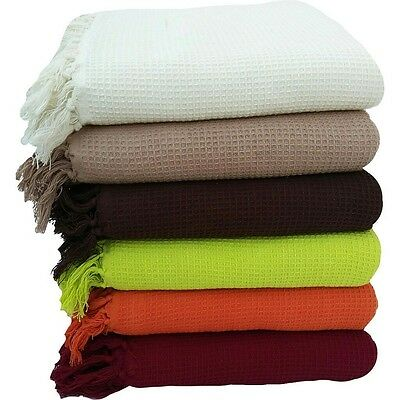 Throw 100% Cotton Honeycomb Waffle  Sofa Settee Bed Sheet Spread Tassled Edge
