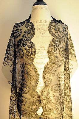 83 inches Antique 1850/1870 French Chantilly Lace Napoleon III Era