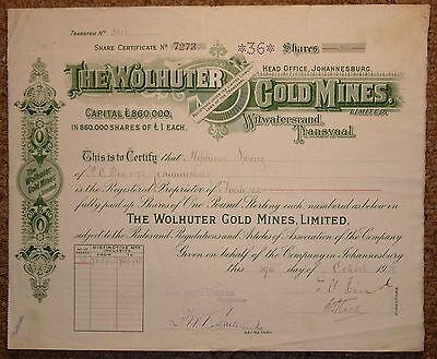 South African Share Certificate:- The Wolhuter Gold Mines
