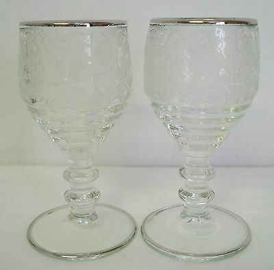 2 Paden City Glass Spring Orchard Wine Cordial Stem Birds Flowers Sterling Trim