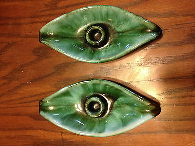 Vintage Blue Mountain Pottery Leaf Shaped Candle Holders