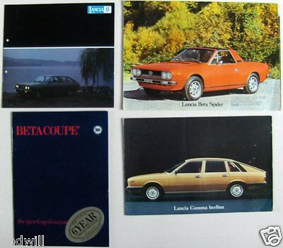 4x LANCIA c1973 BROCHURES  BETA SALOON : COUPE : SPIDER : GAMMA BERLINA & COUPE