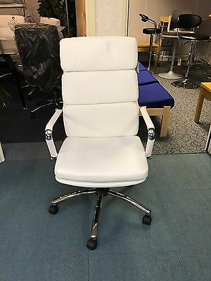 White Leather Faced Executive Office Chair