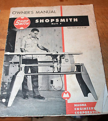 1972 Owners Manual Shop Smith Mark 5 Magna Engineering Corp