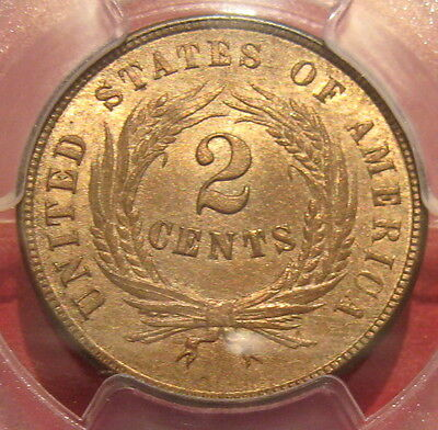 Bu 1864 Two Cent Piece Pcgs Ms 64 Rb Civil War Coin