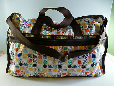 LeSportSac Large Adorable Travel Large Weekender Bag Hearts Dots Scribble SMARTY