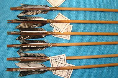 6 Handmade Navajo Indian  Arrows w/different feathers & Stone chipped Arrowheads