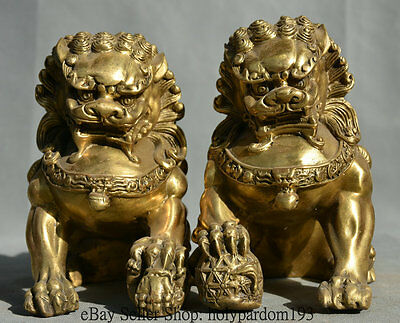 "6.4"" Chinese Folk Brass Feng Shui Grand Foo Fu Dog Guardion Lion Sculpture Pair"