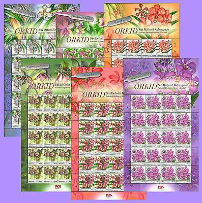 St Malaysia 2017 New National Definitive Orchids Flowers Sheetlets Mnh