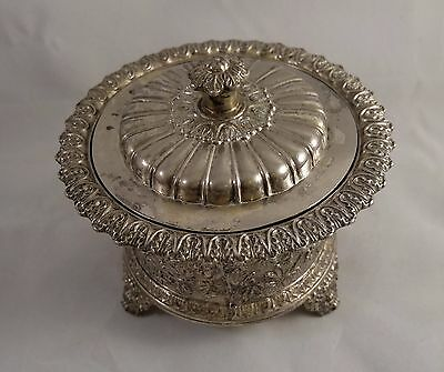 Corbell & Co Silverplate round dish with lid ornate vintages