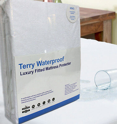 WATERPROOF TERRYTOWEL Matress Protector FITTED Bed Cover / Sheet - All Sizes