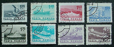 1974 Romania; Ships Set Of 8 Used Stamps Off Paper: Lot 4