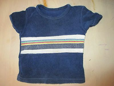 Vintage  M & S  navy blue  towelling striped  top  Age 2 yrs   93cm height. vgc