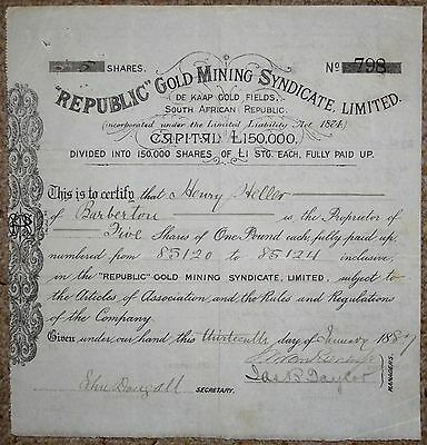 South African Share Certificate:-Republic Gold Mining Syndicate