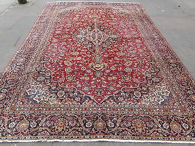 Old Shabby Chic Hand Made Traditional Persian Oriental Wool Red Carpet 350x244cm