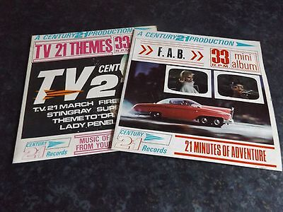 """TWO ORIG. UK """"Century 21"""" Production EPs - """"F.A.B."""" & """"TV.21 Themes"""" EX!"""