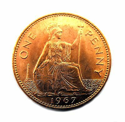 Queen Elizabeth II 1967 PENNY- Brilliant uncirculated condition - Selected grade