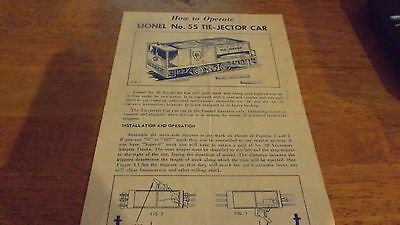 LIONEL  HOW TO OPERATE INSTRUCTIONS SHEET No. 55 TIE-JECTOR CAR - Original