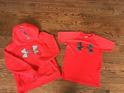 Boys Under Armour RED logo HOODIE YSM youth small T-shirt Lot