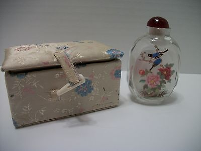 Chinese Inside Painted Glass Snuff Bottle with Box