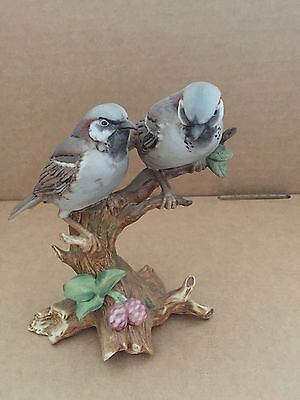 Porcelain Model Of Two House Sparrows On Branch
