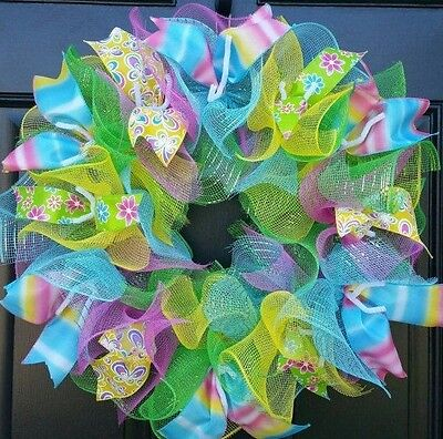 Spring Summer Buterfly Flower Mesh Wreath Deco Mesh Ribbon